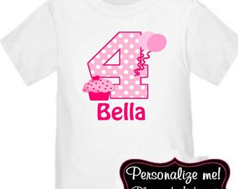 Pink Cupcake Personalized Birthday Shirt - ANY AGE