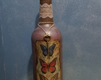 Decorated wine bottle, painted/embellished