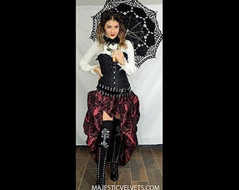 Ready to ship Black Satin Corset with WINE/BLACK Damask Bustle Skirt, Victorian, Cosplay, Dress, Steampunk outfit costume