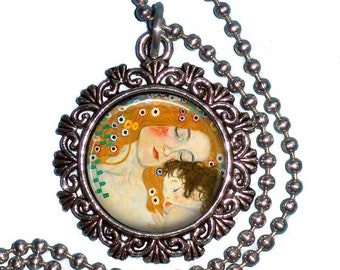 Mother and Child Vintage Art Pendant, Mother and Child Resin Pendant, Gustav Klimt Art, Photo Pendant