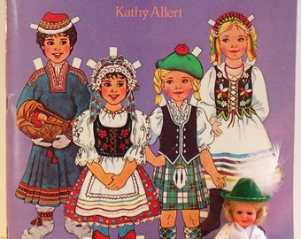 TRADITIONAL FOLK COSTUMES of Europe Paper Doll Book and German Doll
