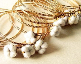 Cotton Field Stacked Bracelets... Cotton Plants Collection
