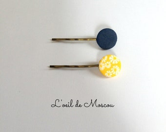 2 hair clips, mismatched, yellow and Navy Blue, Asian theme