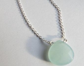 Aquamarine Jade Cushion Cut Teardrop Sterling Silver Layering Necklace. Silver Aqua Layering Necklace. Minimalist Sterling Silver Necklace.