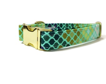 Green Mermaid Scales Dog Collar -  Boy Dog Collar - Girl Dog Collar - Ombre Dog Collar - Green Dog Collar - Geometric Dog Collar