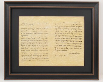 Framed Lincoln's Gettysburg Address with Black Matte & Solid Wood Frame. Free Shipping!