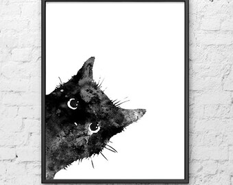 Watercolor painting, Black cat art print,  cat print, cat painting, kitten poster, cat lovers, cat poster, cat art - B5