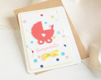 Greetings Card_Baby Shower Card_Baptism_First Birthday Card_Handmade in ITALY_Best Wishes Card