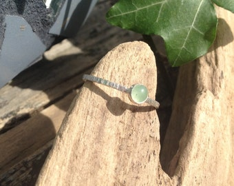 Aventurine Ring, Tiny Sterling Silver Stacking Ring