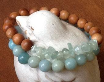 Sandalwood with Aquamarine Stack Bracelet