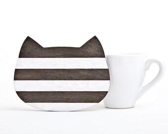 Wooden Coaster, Wooden Serving, Black Cat Coasters, Black Kitchen Decor, Housewarming Gifts, Black Home Decor, Grandma Gift, Cat Lover Gift