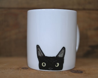 Hand painted animal mug cup - Cute  mug cup -Cat  mug cup- Black Cat