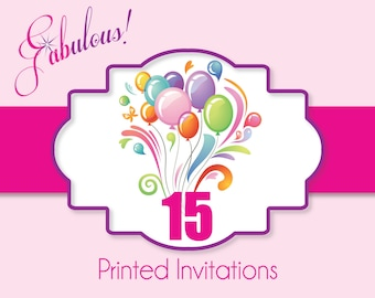 "Printing Services - Printed Party Invitations with White Envelopes 5"" x 7"" or 4"" x 6"""