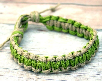Surfer Macrame Hemp Bracelet Natural and Lime Green Woven Knot Friendship Bracelets