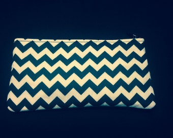 Black and White Horizontal Chevron Pencil Case / Zipper Pouch, Coin Purse, or Wristlet #34