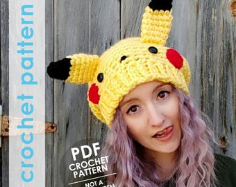pokemon crochet pattern, slouchy hat crochet pattern, pikachu hat, pokemon anime, crochet winter hat,  pokemon hat, pokemon cosplay