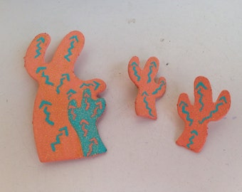 Vintage southwestern Cactus earrings and pin metallic orange and green