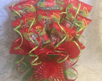 Drumstick Squashies cherry and apple flavour Bouquet SWEET CREATIONS sweet hamper gift party tablecentre christmas