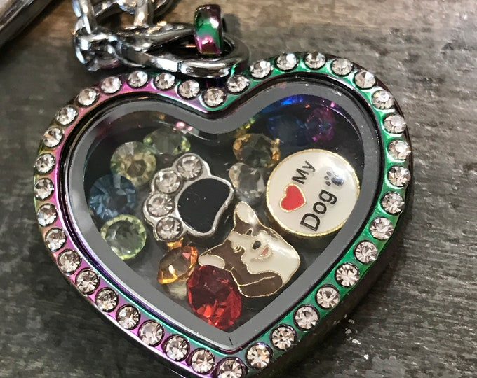 Rainbow bridge pet memorial heart locket with Corgi