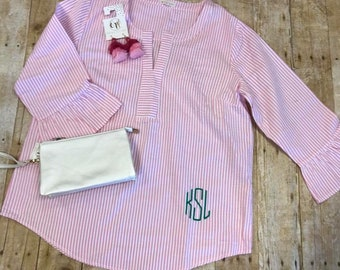 Monogram Seersucker Ruffle Sleeve Tunic Pink & White