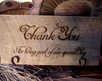 Signs, Barnwood Sign, Reclaimed Wood, Wedding Sign, Thank You Sign, Rustic Wedding, Engraved Sign