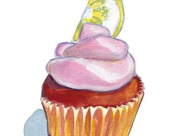 Watercolor Painting - Cupcake Illustration- Pink Lemonade Cupcake Watercolor Art Print - 8x10