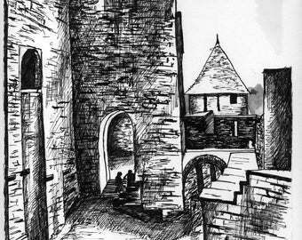 Carcassonne drawing in ink, unique and signed