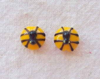 SALE - Glass Spider and Web Beads - 11 mm - Sets of 2
