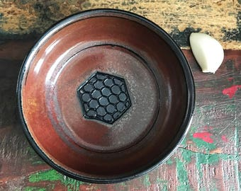 Ceramic Garlic Grater Bowl - Garlic Grater Dish - Ginger Grater