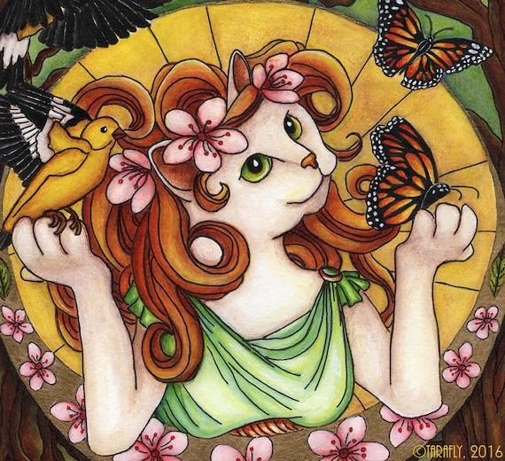 Spring Cat Art Nouveau 8x10 Fine Art Print