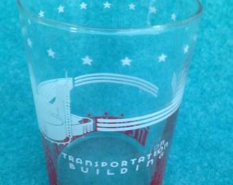 "1939 1940 New York World's Fair Short Wide Water Glass 3 3/4"" Transportation Building"