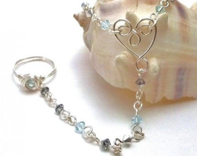 March Birthstone Slave Bracelet Ring Attached Silver and Aquamarine Swarovski Crystal