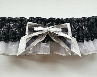 Black and Silver Shimmer Lace Prom Garter