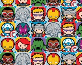Avengers Kawaii Fabric, Kawaii Character Tiles, Marvel Avengers, Japanese Cute Faces, Quilting Cotton, By the Half Yard