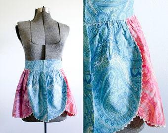 Vintage Half Apron / Kitchen Apron / Pink and Blue Paisley