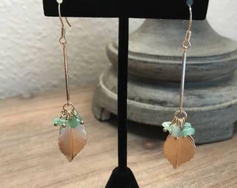 Long Gold Leaf, Drop Earrings, Green Beads, Hanging Earrings, Dangle Earrings, Jewelry