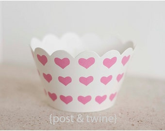 24 Pink and White Heart Cupcake Wrappers - Additional Items Ship Free!!!