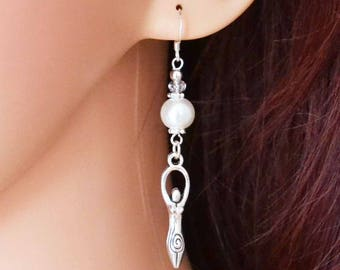 Triple Goddess Pagan Earrings - Handmade Pagan Jewellery Celebrating the Goddess in Her Trinity Aspects of Maiden, Mother, and Crone