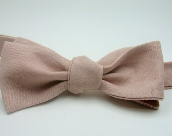 Dusty Rose Bow Tie J Crew Inspired Misty Rose Bow Ties Linen Bow Ties Mens Bow Ties Groomsmen Bow Ties Custom Bow Ties Freestyle Bow Ties