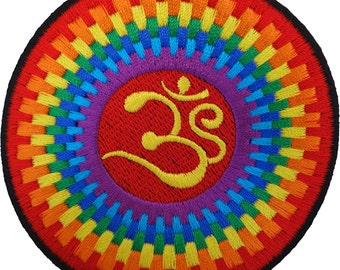 Iron On Patch Sew On Badge Embroidered Aum Om Buddhist Hinduism Buddhism Rainbow