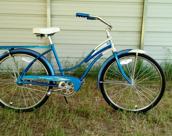 Vintage Cruiser Bicycle restored to new, 60s beach cruiser bike original Patina and graphics, Monark El Camino orginally  made in USA, SWEET