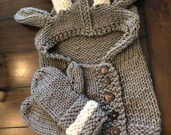 Frye fawn hood cowl and mitten set