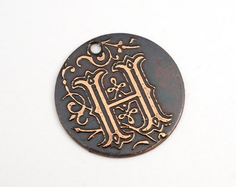 Handmade copper H charm, round flat etched spiraling letter, 25mm