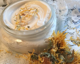GOAT MILK lotion | Calendula essential oil | Mango Butter + HEMP | 8 oz. glass jar | face + body cream | safe organic ingredients | dry skin