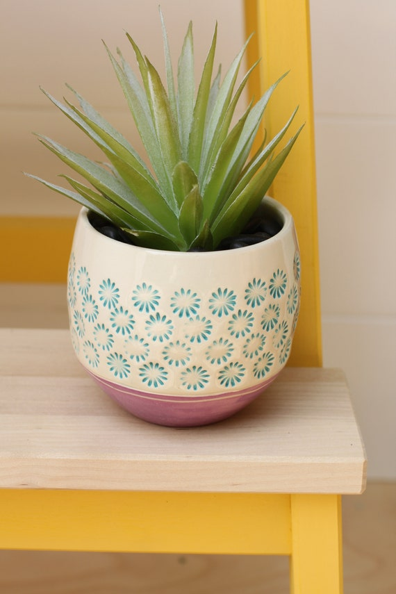 flower cactus pot // boho decor // watercolor // planter