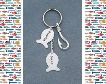 Fishing Dad Keychain • QQQ • Fish Charm Keychain • Fishing Jewelry • Daddy Keychain • Grandpa Gift • Fisherman Gift • Fish Keychain