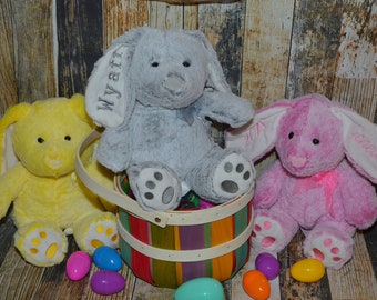 Personalized Easter Bunnies - Plush Easter Bunny - Monogram Bunny - Kids Easter Gift - Embroidered Child's Bunny - Choose your color