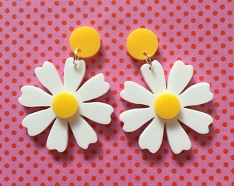 White and yellow daisy earrings, laser cut acrylic