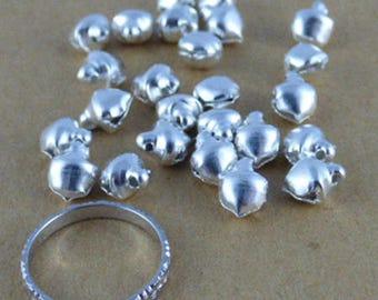 Set of 25 bells / silver bells, 8.5 mm x 6 mm x 6 mm, hole 1 mm