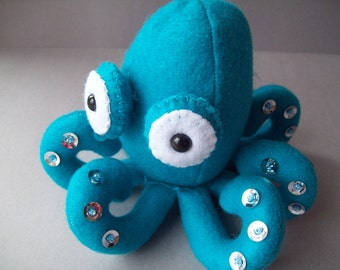 Octopus stuffed animal - Teal with silver